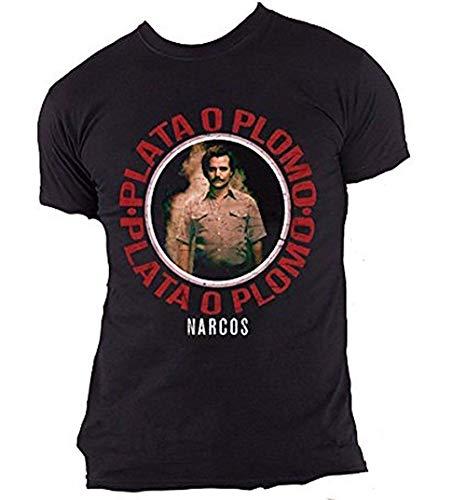 Official Merchandise Narcos - Plata O Plomo - Offizielles Herren T-Shirt - Schwarz, Medium