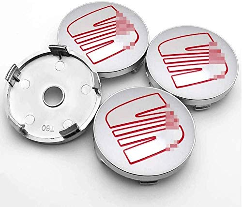 Tapas centrales Cubierta central del eje del coche de 4 piezas, emblemas de la insignia, tapas centrales de rueda de aleación, S 60 mm, tapas a prueba de polvo, para SEAT Minimo Ibiza Alhambra Exeo