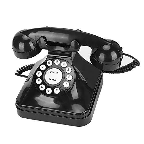 Vintage Negro Retro Teléfono fijo Multifunción de una sola línea Teléfono con cable Flash/Re-marcar/Retener Teléfono de escritorio Teléfono de marcado giratorio con base antideslizante para el hogar y