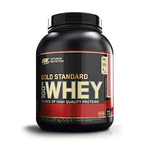 Optimum Nutrition ON Gold Standard Whey Protein Pulver, Eiweißpulver zum Muskelaufbau, natürlich enthaltene BCAA und Glutamin,, Strawberry, 76 Portionen, 2,27kg, Verpackung kann Variieren