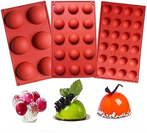 HSJ LF- 3 Piezas de 6 y 15 y 24 Orificios, moldes de Silicona hemisférica, fácil de Usar, Usados para Hacer moldes para Hornear de Chocolate, Pasteles Forma de Pastel