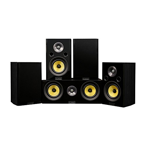 Fluance Signature HiFi Compact Surround Sound Home Theater 5.0 Channel Speaker System Including 2-Way Bookshelf, Center Channel and Rear Surround Speakers - Black Ash (HF50BC)