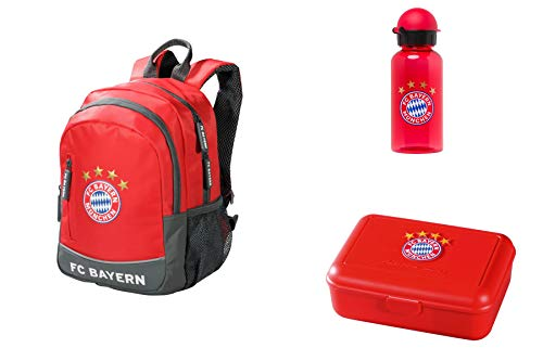 FC Bayern München Set Kinder Rucksack + Trinkflasche + Brotdose