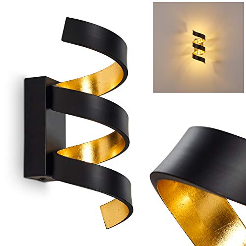 LED Wandlampe Rezat, Wandleuchte aus Metall in Schwarz/Gold, Wandstrahler 3-flammig, 3 x 3 Watt, 450 Lumen, 3000 Kelvin (warmweiß), Innenwandleuchte m. Lichteffekt an der Wand