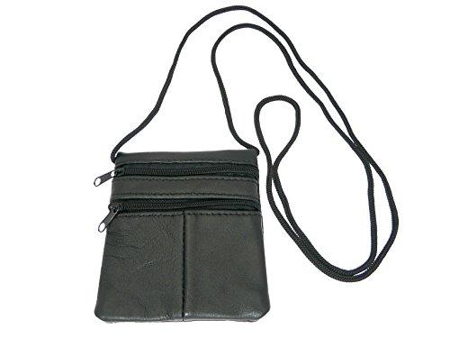 Kleine weiche Patchwork Leder Neck Geldbeutel/Pouch/ID Halter–2Reißverschlussfächer–1Transparent Fenster, Schwarz