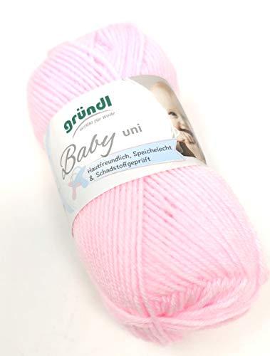 Babywolle Gründl Baby uni Fb. 07 rosé, weiche pflegeleichte Wolle zum Stricken & Häkeln für Babykleidung