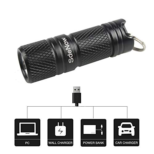 Upgraded 200 Lumen Tiny Rechargeable LED Keychain Light Pocket EDC Torch with...