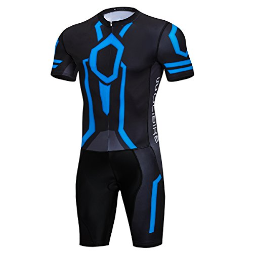 logas Triathlon Anzug Herren Trisuit Einteiler Kurzarm Duathlon Kleidung Fahrrad für Radfahren/Laufen/Schwimmen