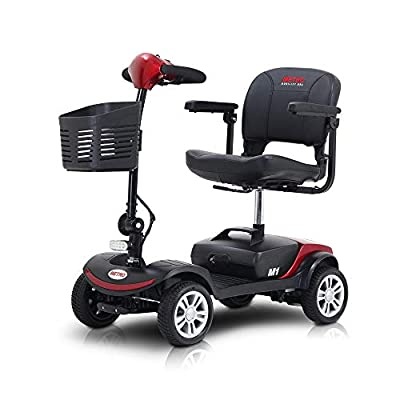 4 Wheel Travel Mobility Scooter for Senior - Electric Powered Mobile Wheelchair Device for Adult Elderly- Compact Scooter for Travel - Long Range Power Extended Battery w/Charger and Basket (Red) from iDFURLF