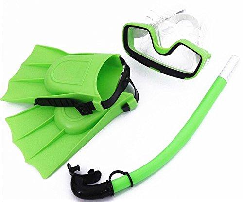 SAFLYSE Set de esnórquel para niños (gafas de buceo, tubo y aletas), color verde