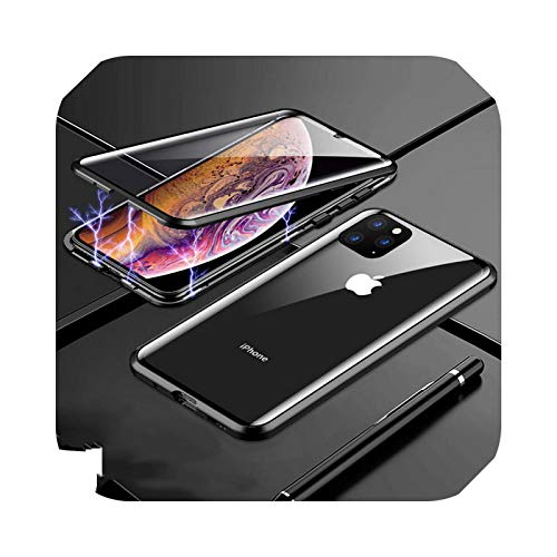 Carcasa magnética de adsorción de metal para iPhone 12 11 Pro XS Max de doble cara de cristal magnético para iPhone 7 8 6 6S Plus X XR SE, carcasa negra para iPhone 8 Plus