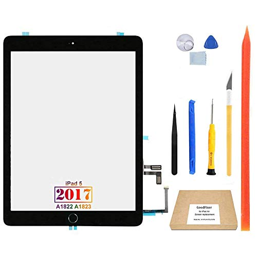GoodFixer Digitizer Touch Screen Replacement for iPad 5 5th Gen 2017 9.7', Only for 5th Generation A1822 A1823, with Home Button, Full Repair Kit, Camera Holder, Pre-Installed Adhesive [365 Days Warr]