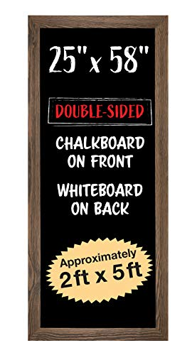 "Extra Large Gigantic Rustic Chalkboard Sign: 58""x25"" Hanging Chalk Sign for Kitchen Wall Decor, Restaurant Menu Board/Hangs in Both Directions/Reversible with Dry Erase Board on Back"