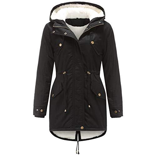 Youmymine Women Winter Down Coat Plus Size Ski Jacket Snowsuit Hooded Zipper Overcoat Windbreaker Raincoat (L, Black)