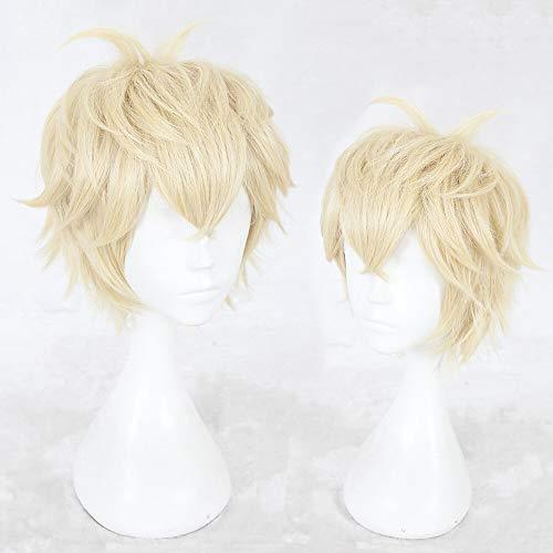 CPalsen - Parrucca sintetica da uomo, capelli lisci, taglio a strati, senza cappuccio, colore: biondo