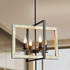 TZOE Farmhouse Kitchen Island Pendant Lighting fixtures White Oak Wood Color&Black Metal Finish 4-Light Rustic Chandelier