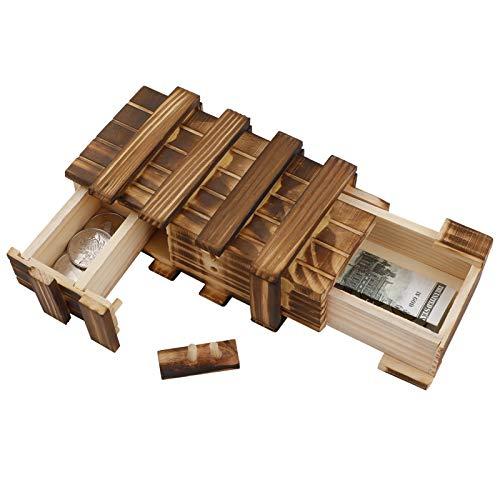 You&Lemon Caja de regalo de madera, caja mágica para rompecabezas con 2 compartimentos seguros, caja de puzzle para regalo, joyas, dinero, boda, cumpleaños