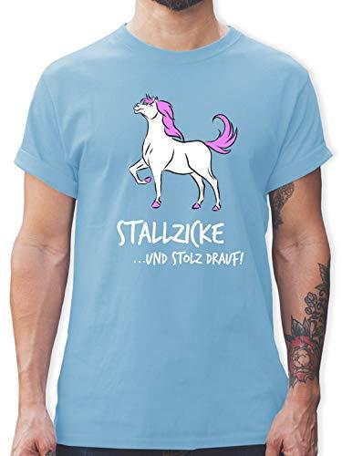Pferde - Stallzicke - XL - Hellblau - Herren t Shirt Pferd - L190 - Tshirt Herren und Männer T-Shirts