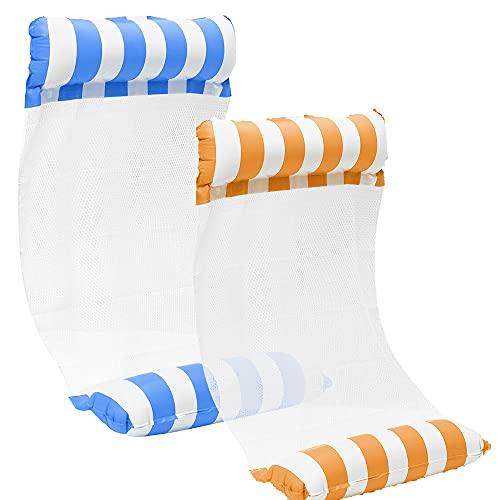 kunst für alle [2Stück] Aufblasbare Wasserhängematte Schwimmbett 4 in1 Wasser Hängematte Loungesessel Pool Lounge luftmatratze aufblasbare hängematte Schwimmbad Strand (Orange+Hellblau)