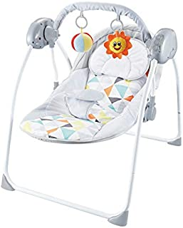 MOON Bungee Baby Electric Wild Portable Compact Automatic Swing with Melodies- Light Grey, 3 months above