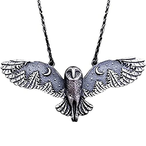KUOGE Silver Owl Moon Forest Necklace, Moon Phase Art Jewelry Animal Totem Necklace Owl Necklaces For Women Vintage