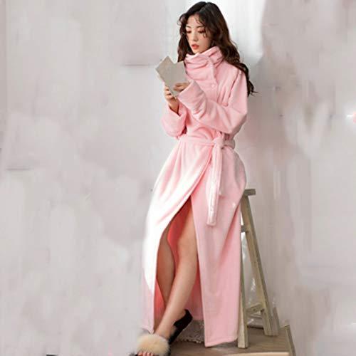 SCDZS Camisón de terciopelo coral y chaqueta gruesa de terciopelo para mujer otoño e invierno larga cálida ropa de hogar bata de baño solapa se puede llevar en el exterior (color: A, tamaño: grande)