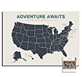 Epic Adventure Maps The United States Push Pin Map 24' x 17' - Travel Map to Mark Your Travels Around The USA - Multicolored Pushpins Included - Great Travel Gift Unframed Poster(Beige)