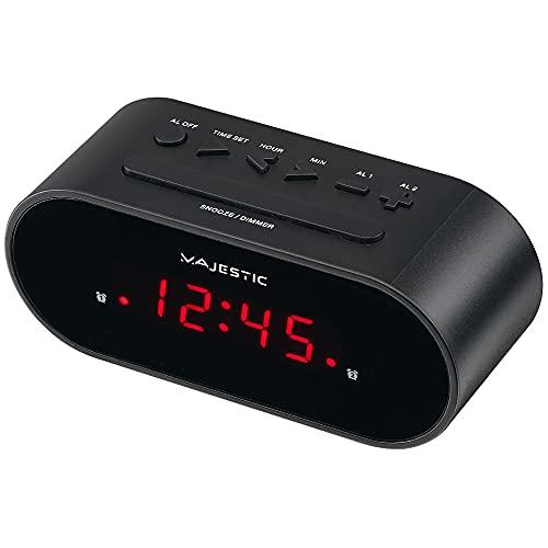 Majestic SVE 235 - Sveglia digitale display LED, doppio allarme, snooze, nero