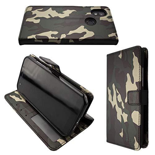 caseroxx Handy Hülle Tasche kompatibel mit Cat S52 Bookstyle-Hülle Wallet Hülle in Camouflage