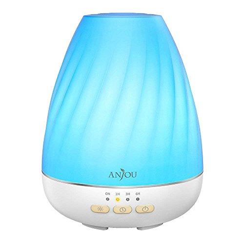 Anjou Diffusore di Olio Essenziale 200ML con 4 Impostazioni Timer e 7 Luci LED Colorate, Diffusore d\'Aromaterapia con Controllo Nebulizzazione, Auto Spegnimento Basso Livello dell'Acqua e Senza BPA