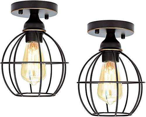 Pack of 2 Vintage Ceiling Light Retro Industrial Semi-Flush Mount Metal Light Hanging Fixture Fitting for Indoor (Black)