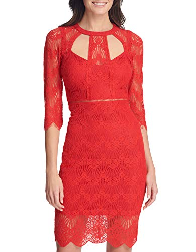 Guess Damen Three-Quarter Sleeve Cut-Out Lace Sheath Dress Cocktailkleid, rot, 36