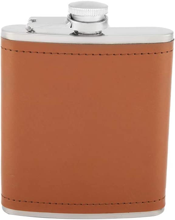 Hip Flask Stainless Steel Wrapped Cheap mail order sales Portabl Faux Regular discount Leather