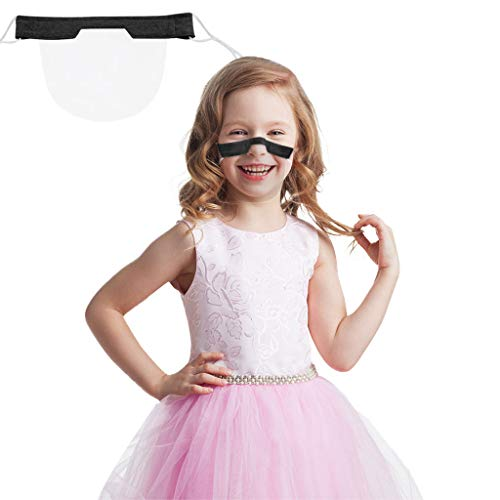Kids Reusable Transparent Mouth Shield for School Students Hospital Restaurant Protection Food Salon Clear Film Protective PVC Visual Face Nose Covering Safety Environmental (Navy, 5PC)