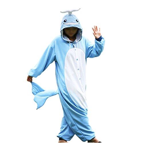 wotogold Pijama de Narval Animal Ballena Disfraces de Cosplay Unisex para Adultos Azul