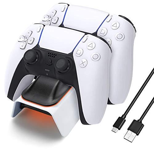 KONKY PS5 Cargador, Charger Mandos PS5 Dualshock PS5 Estación de carga USB Base de carga para Sony Playstation 5 Mando Inalámbrico Gamepad con Cable USB tipo C