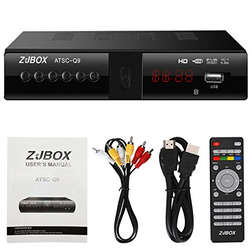 Digital TV Converter Box, ATSC Cabal Box - ZJBOX for Analog HDTV Live1080P Set Top TV Box with PVR Recording&Playback,HDMI Output,Timer Setting LED HDTV Set Top TV Box Digital Channels Free