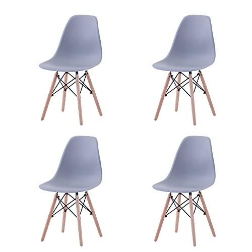 GrandCA HOME Set di 4/6 Sedie,Sedie da Pranzo Sedia da Ufficio Design Nordico Sedia in Stile retrò (Grigio-4)