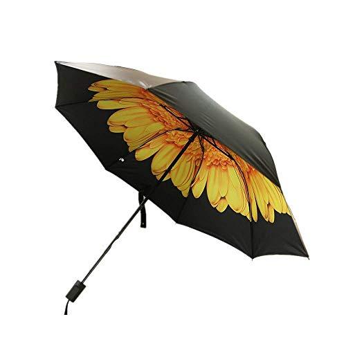 Y-S Taschenschirme Schwarzer Kleber Sonnenschutz Uv-Schutz Innenliegend Schattierung Schwarzer Regen- und Sonnenschein Sonnenschutzschirm Weiß, Gelb