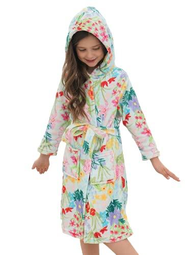 Doctor Unicorn Bata de baño suave con capucha arco iris para niñas, Azul Floral, 7-9 Años
