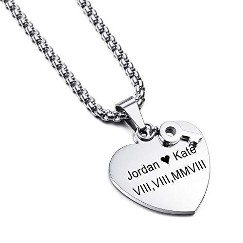 MEMEDIY Customized Name Halskette Personalisierte Gravur Geschenk für Männer Frauen Jungen Mädchen Edelstahl Herzschlüssel Anhänger mit 3 mm breiten 20-Zoll-Kette