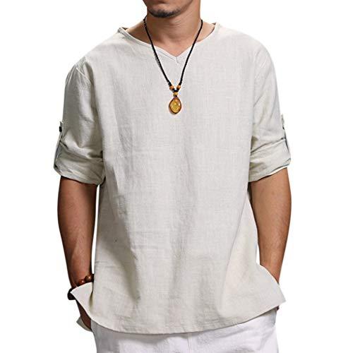 Hot !!! Herren Leinenshirts t Shirts männer Sommer Neue Reine Baumwolle Top komfortable Mode Bluse Tops CICIYONER
