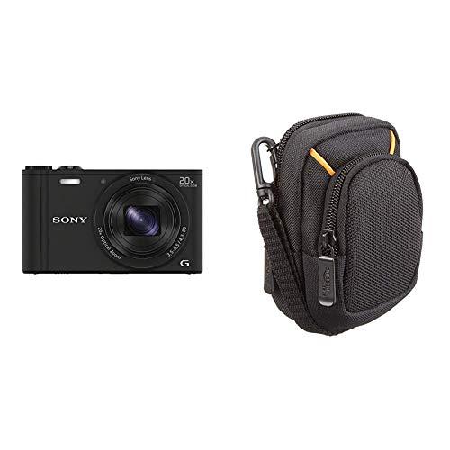 Sony DSC-WX350 Digitalkamera (18 Megapixel, 20-Fach Opt. Zoom, 7,5 cm (3 Zoll) LCD-Display, NFC, WiFi) schwarz & AmazonBasics Kameratasche für Kompaktkameras, mittlere Größe