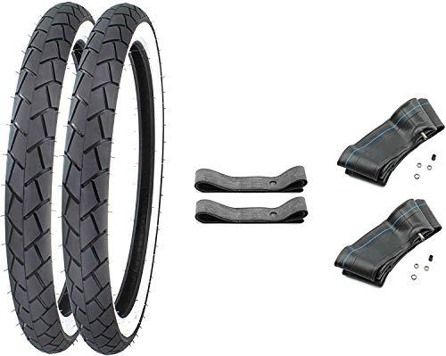 SET 2 Weißwand Reifen 2,25-17 Zoll inkl. 2 Schlauch + 2 Felgenband für Mockik Mofa