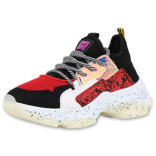 SCARPE VITA Damen Chunky Sneaker Plateau Turnschuhe Metallic Lack Print Schuhe Trendy Plateauschuhe Profilsohle 186233 Schwarz Rot Total 38