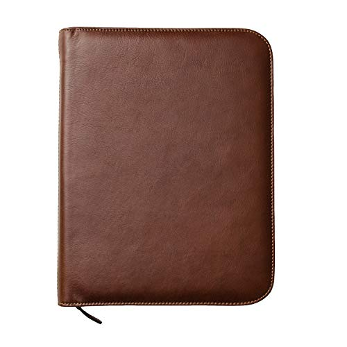 Maruse Personalized Italian Leather Executive Padfolio, Folder Organizer with Zip Closure and Writing Pad, Handmade in Italy, Brown