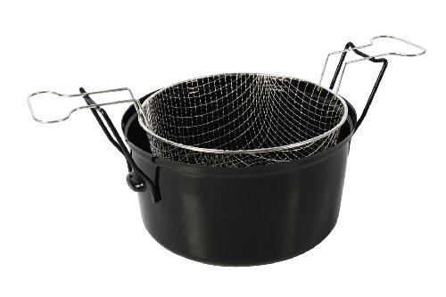Crealys 511277 Friteuse en Acier Émaillé Intérieur Noir 28 cm