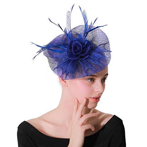 Jklj Pince à Cheveux Coiffe De Plumes Cocktail de Mariage Chapeau Bandeau à Plumes Net Flower Hair Clip Rétro