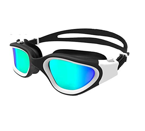 Voroly Swimming Goggles with Anti-Fog UV Protection No Leaking Coated Lens with Case for Boys Girls Youth Kids Men and Women Nose and Ear Clip (Polarized Blue Lens White Frame)