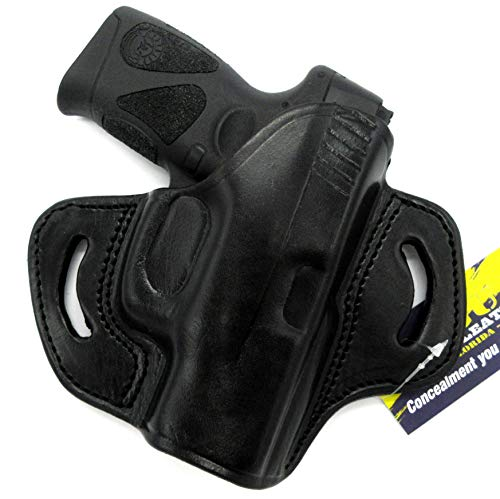 HOLSTERMART USA TAGUA Right Hand Black Leather Open Top OWB Belt Holster for Taurus Millennium G2, G2C, G2S